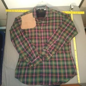 A&F HUNT SHOULDER PLAID LONG SLEEVE BUTTON UP